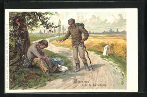 Künstler-Lithographie E. Döcker: Unser Gebet, Führe uns nicht in Versuchung