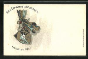 Lithographie Weihenstephan, Corps Germania, Studentenwappen