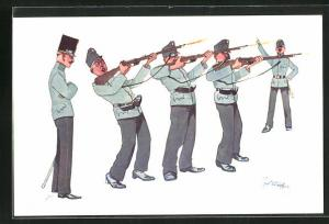 Künstler-AK Fritz Schönpflug: Gewehrexerzieren, Soldatenhumor
