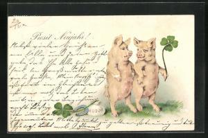 Lithographie Prosit Neujahr!, Glücksschweine mit Klee