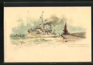 Künstler-Lithographie Hans Bohrdt: Swinemünde, SM Panzerschiff Siegfried vor Einfahrt