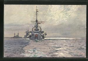 Künstler-AK Hans Bohrdt: Kriegsschiffe, Das Linienschiff Elsass