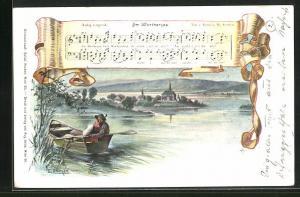 Künstler-AK E. Döcker: Am Wörthersee, Liedtext und Noten