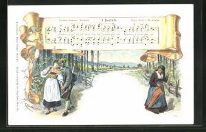 Künstler-AK E. Döcker: `s Busseln, Liedtext und Noten