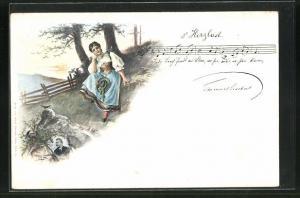 Künstler-AK E. Döcker: s` Herzlad, Liedtext und Noten