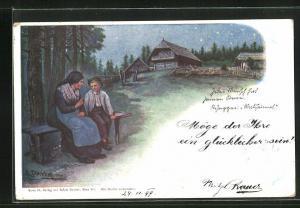 Künstler-AK E. Döcker: Mutter und Kind bei Sternennacht, Rosegger