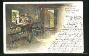 Künstler-AK E. Döcker: Vater und Sohn, Rosegger