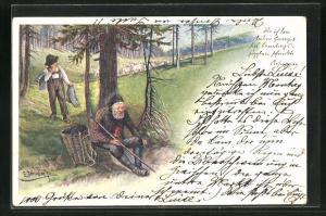 Künstler-AK E. Döcker: Greis und junger Hirte, Rosegger