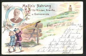 Lithographie Mellin`s Nahrung für Kinder, Kranke u. Genesende, Kinder mit Teleskop