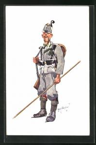 Künstler-AK Fritz Schönpflug: Soldat in Uniform mit Pfeife u. Lanze