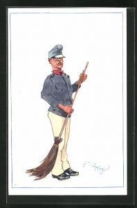 Künstler-AK Fritz Schönpflug: Soldat in Uniform mit Kehrbesen