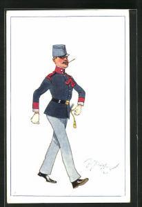 Künstler-AK Fritz Schönpflug: Marschierender Soldat in Uniform