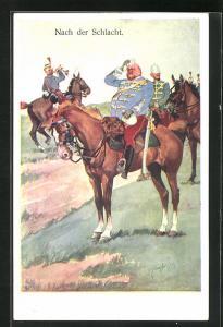 Künstler-AK Fritz Schönpflug: Nach der Schlacht, Dicker Offizier auf seinem Pferd