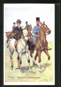 Künstler-AK Fritz Schönpflug: Gezügelte Leidenschaften, Soldaten in Uniformen u. Damen zu Pferde