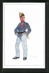 Künstler-AK Fritz Schönpflug: Soldat in Uniform mit Schirmmütze