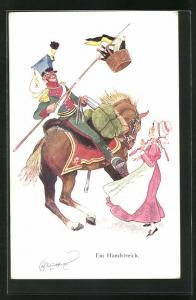 Künstler-AK Fritz Schönpflug: Ein Handstreich, Soldat in Uniform zu Pferde spiesst einen Korb Weinflaschen auf