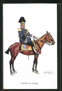 Künstler-AK Fritz Schönpflug: Gewitter im Anzug, Offizier auf seinem Pferd