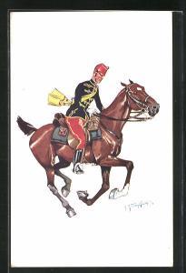 Künstler-AK Fritz Schönpflug: Soldat in Uniform auf galoppierendem Pferd