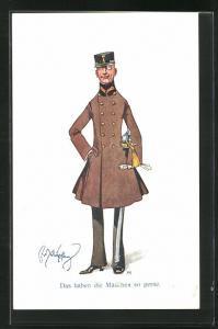 Künstler-AK Fritz Schönpflug: Das haben die Mädchen so gerne, Soldat im Mantel mit Schirmmütze