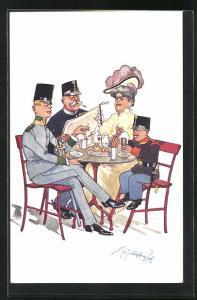 Künstler-AK Fritz Schönpflug: Mutter mit Vater und Kindern als Soldaten am Esstisch