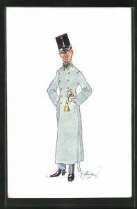 Künstler-AK Fritz Schönpflug: Soldat im Mantel mit Schirmmütze