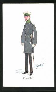 Künstler-AK Fritz Schönpflug: Pyramidal, Soldat in Uniform mit Schirmmütze