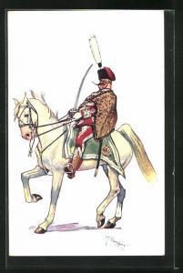 Künstler-AK Fritz Schönpflug: Ungarischer Soldat in Uniform zu Pferde