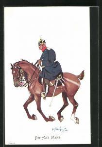 Künstler-AK Fritz Schönpflug: Der Herr Major, Offizier zu Pferde