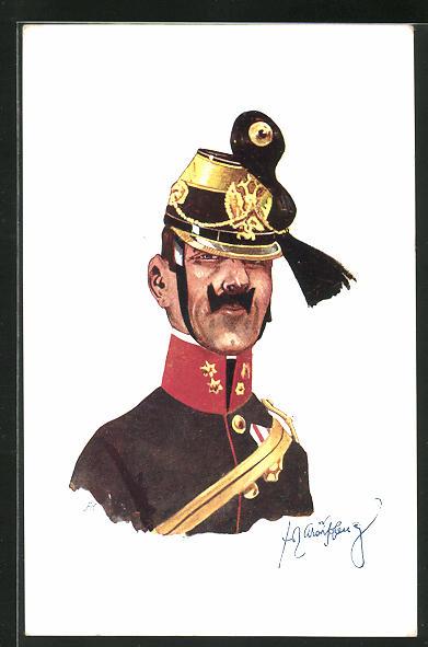 Künstler-AK Fritz Schönpflug: Soldat in Uniform mit Federhut Mütze 0