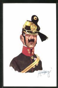 Künstler-AK Fritz Schönpflug: Soldat in Uniform mit Federhut Mütze