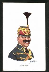 Künstler-AK Fritz Schönpflug: Reitervollblut, Portrait Soldat in Uniform mit Federhut Mütze
