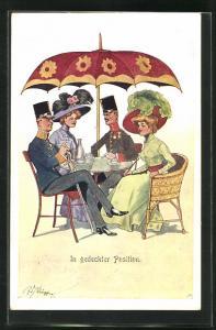 Künstler-AK Fritz Schönpflug: In gedeckter Position, Soldaten und junge Damen am Gartentisch sitzend