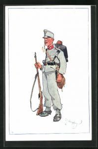 Künstler-AK Fritz Schönpflug: Soldat in Uniform mit Pfeife u. Gewehr