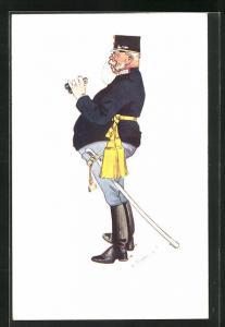 Künstler-AK Fritz Schönpflug: Alter Soldat mit Fernglas, Schärpe und Säbel