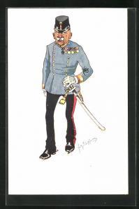 Künstler-AK Fritz Schönpflug: Alter Soldat in Uniform mit Säbel