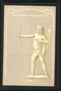 AK Amor Statue, Halt gegen das Licht, Mann im Büro, Bureau de Mariage