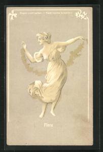AK Flora Frauenfigur, Halt gegen das Licht, Frau tanzt mit Blumenkorb vor Mann, Menschengruppe dahinter