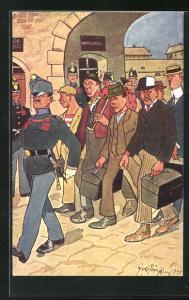 Künstler-AK Fritz Schönpflug: Männergruppe marschiert hinter Soldaten her, Wachlocal