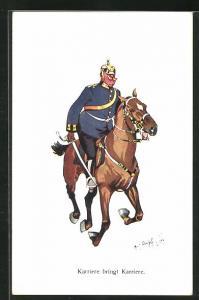 Künstler-AK Fritz Schönpflug: dicker Soldat reitet mit Säbel auf Pferd, Karriere bringt Karriere