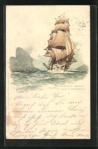 Künstler-AK Hans Bohrdt: S. M. Schulschiff Stosch, Rio de Janeiro verlassend