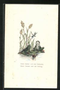 Passepartout-AK Frösche sitzen auf Seerosenblätter mit einer Libelle , Zwei Seelen und ein Gedanke, Zwei Herzen