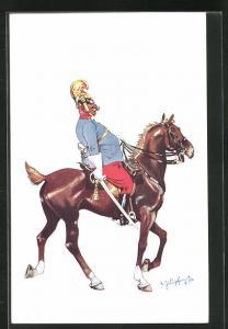 Künstler-AK Fritz Schönpflug: dicker Soldat mit Helm und Säbel auf Pferd