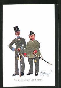 Künstler-AK Fritz Schönpflug: zwei alte Soldaten mit Hüten, Das is der Zauber den Montur