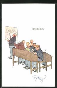 Künstler-AK Fritz Schönpflug: junge Soldaten spielen in der Schule Karten, Kartenkunde