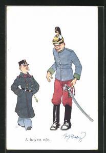 Künstler-AK Fritz Schönpflug: Junge in Uniform blickt erzürnt auf betrunkenen Soldaten, A helyzet nött
