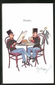 Künstler-AK Fritz Schönpflug: zwei Soldaten esen am Tisch und lesen Zeitung, Piccolos