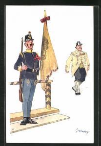 Künstler-AK Fritz Schönpflug: Soldat in Hab Acht Haltung neben Fahne, Soldat mit Zweispitz Hut