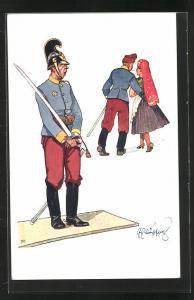 Künstler-AK Fritz Schönpflug: Soldat mit Säbel schaut Soldaten mit Frau in Tracht hinterher