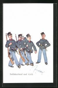 Künstler-AK Fritz Schönpflug: junge Soldaten marschieren, Soldatenfreud und -Leid