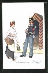 Künstler-AK Fritz Schönpflug: Soldat im Wachhäuschen lächelt mit Blume, Dienstmagd mit Korb, Verehrungsbezeigung